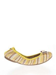 Hnedo-žlté vzorované baleríny s mašľou v zlatej farbe do kabelky Butterfly Twists Chloe