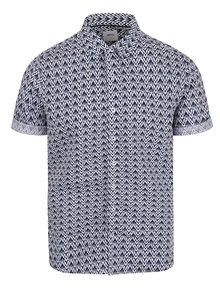 Cămașă alb&albastru Burton Menswear London Ikat din bumbac