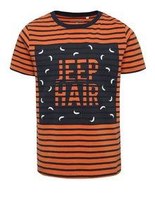 Modro-oranžové klučičí triko s potiskem name it Vuxjess
