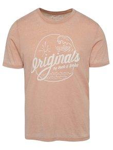 Tricou roz piersică Jack & Jones Hero cu imprimeu