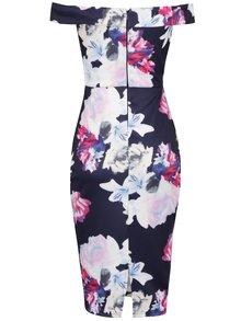 Tmavomodré puzdrové kvetované šaty s odhalenými ramenami AX Paris