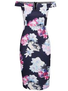 Tmavě modré pouzdrové květované šaty s odhalenými rameny AX Paris