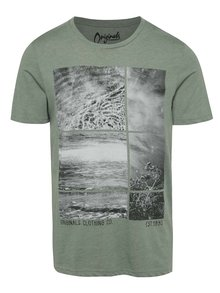 Zelené žíhané triko s potiskem Jack & Jones Hermosa