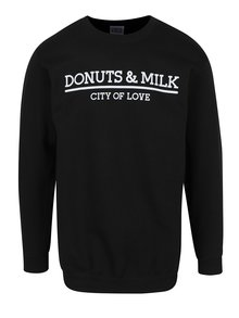 Černá unisex mikina bez kapuce Donuts & Milk