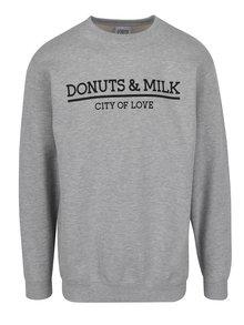 Šedá unisex mikina bez kapuce Donuts & Milk