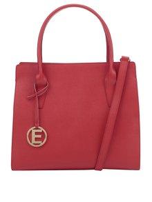 Červená kožená kabelka s přívěskem ve zlaté barvě Elega Nate