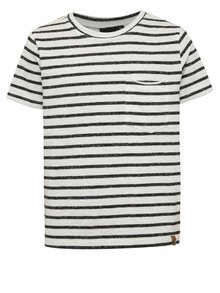 Krémovo-černé klučičí pruhované triko s kapsou LIMITED by name it Sigger