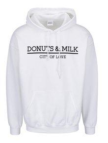 Bílá unisex mikina s kapucí Donuts & Milk