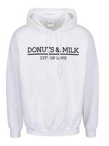 Biela unisex mikina s kapucňou Donuts & Milk