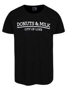 Tricou negru Donuts & Milk unisex