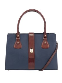 Hnedo-modrá kožená kabelka Elega Debbie