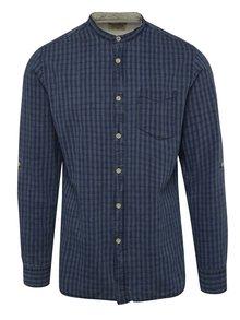 Modrá kostkovaná košile s příměsí lnu Jack & Jones Bay