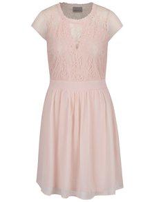 Světle růžové šaty s krajkovým topem VERO MODA Anca