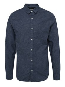 Tmavě modrá slim fit košile s příměsí lnu Jack & Jones Summer