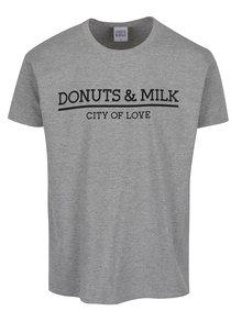 Šedé unisex triko s krátkým rukávem Donuts & Milk