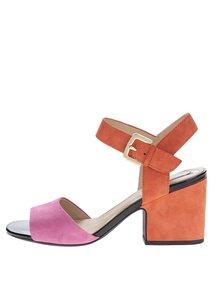 Sandale roz&portocaliu Geox Marilyse din piele naturală