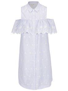 Světle modré pruhované košilové šaty s volánem Miss Selfridge