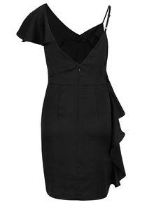 Čierne asymetrické puzdrové šaty s volánom Miss Selfridge