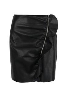 Čierna koženková sukňa so zipsom a volánom Miss Selfridge
