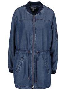Jachetă parka Gina Laura albastră cu aspect din denim