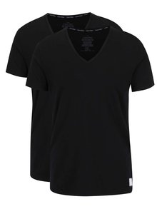 Súprava dvoch pánskych tričiek pod košeľu v čiernej farbe Calvin Klein