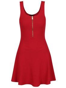 Červené šaty so zipsom v zlatej farbe TALLY WEiJL