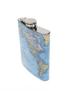 Svetlomodrá ploskačka s potlačou mapy Gift Republic