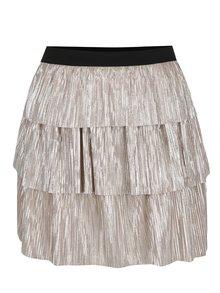 Béžová plisovaná sukně s volány a odlesky ve stříbrné barvě TALLY WEiJL