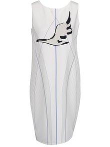 Rochie albă midi fără mâneci Laura Dumitrescu Wild Swan cu print grafic