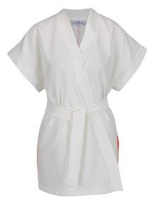 Bílé dlouhé vzorované kimono s potiskem Laura Dumitrescu Graceful Egret