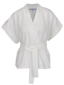 Bílé krátké kimono s potiskem na zádech Laura Dumitrescu Bold Sparrow