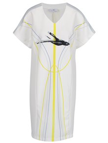 Bílé šaty s potiskem Laura Dumitrescu Swift-Flying Blackbird