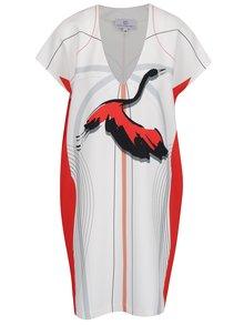 Rochie albă midi Laura Dumitrescu Great Egret cu print grafic și croi amplu