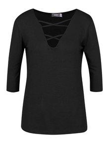 Bluză neagră ZOOT cu decolteu V cu șiret