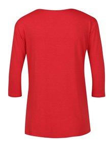Červené tričko s pásky v dekoltu a 3/4 rukávem ZOOT