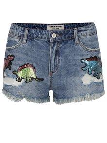 Modré džínové kraťasy s vysokým pasem a flitrovými nášivkami ve tvaru dinosaurů TALLY WEiJL