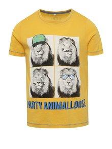Žluté klučičí triko s potiskem lva name it Julius