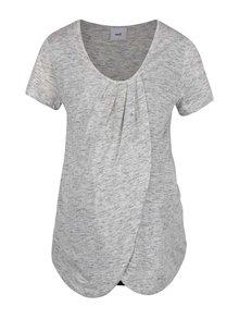 Čierno-sivé dvojité tehotenské/dojčiace tričko s prekladaným predným dielom Mama.licious Tacey