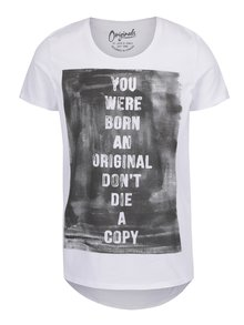Bílé triko s šedým potiskem Jack & Jones Riot