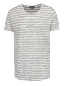 Bílo-zelené pruhované žíhané triko Jack & Jones Reverse