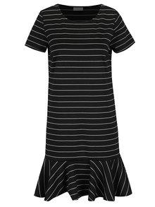 Čierne voľné pruhované šaty s volánom VILA Ruffle Low