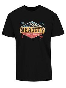 Čierne pánske tričko s potlačou Meatfly Bugler