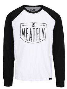 Černo-bílé pánské triko s dlouhým rukávem MEATFLY Rikker