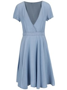 Světle modré džínové šaty s překládaným dekoltem VILA Calan