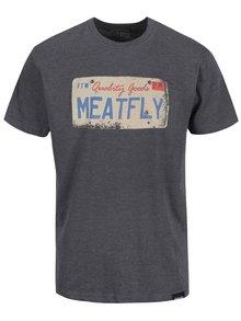 Tricou gri cu print MEATFLY Carplate pentru bărbați