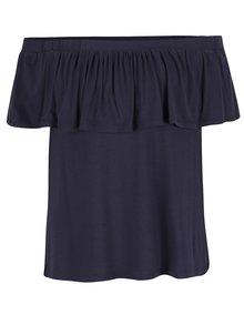 Tmavě modré tričko s odhalenými rameny a volánem VILA Foma