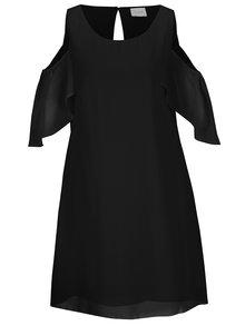 Čierne voľné šaty s prestrihmi na ramenách a volánmi VILA Magile Off