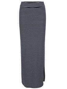 Fustă lungă bleumarin & alb VILA Honesty cu model în dungi