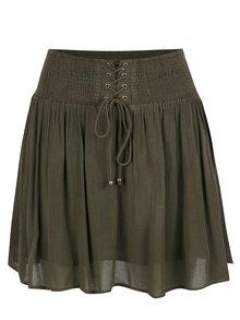 Kaki sukňa so šnurovaním a pružným pásom VILA South