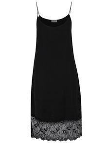 Čierne voľné šaty s čipkovaným lemom VILA Straplace